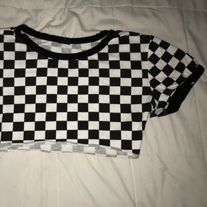 Tops - Checkered Crop Top